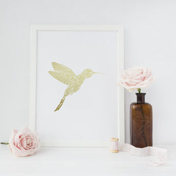 Hummingbird Print, Gold Foil Print, Wall Decor, Gold Hummingbird Poster, Minimal Art, Kids Room Decor, Geometric Poster, Nursery Gold Foil