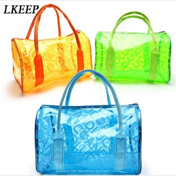 Sport Bag Swimming Waterproof Bag PVC Plastic Handbags Transparent Candy Color Beach Bags  For Women