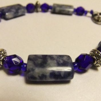Chunky Brazilian Sodalite Gemstone Bracelet Cobalt Sapphire Blue Colored Czech Glass and Antique Silver Spacer Beads and Heart Toggle Clasp