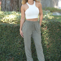 Lazy Day Afternoon Pants - Olive