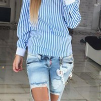 Cupshe Trip Out Striped Open Back Shirt
