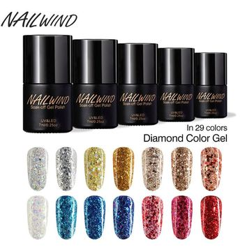 NAILWIND 2017 Hot Sale Diamond Series W01-29 for UV LED Thermal Gel Poland 7ML Semi-Permanent Nail Gel Polish Soak