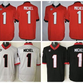 Best College 1 Sony Michel Football Jerseys Cheap Georgia Bulldogs Sony Michel Jersey Men Fashion Stitched Team Color Red Black White