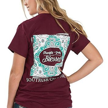 Couture Tee Women's Maroon Thankful, Grateful, Blessed T-Shirt