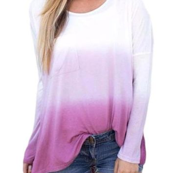 Women's Ombre Pink to Purple Long Sleeve Ombre Color T-Shirt Top