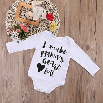 Autumn Long Sleeve Lovely Casual Cute Infant Clothing Baby Girl Boy I Make Mama s Heart Full Letter Romper White Cotton Outfits