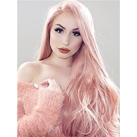 Long Campsis Grandiflora Peach Pink Synthetic Lace Front Wig