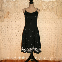 Black Dress Spaghetti Strap Dress Casual Dress Cotton Dress Summer Dress Sundress Embroidered Ann Taylor Size 6 Dress Small Womens Clothing