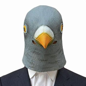 DCK9M2 Creepy Pigeon Head Mask Latex Prop Animal Cosplay Costume Party Halloween