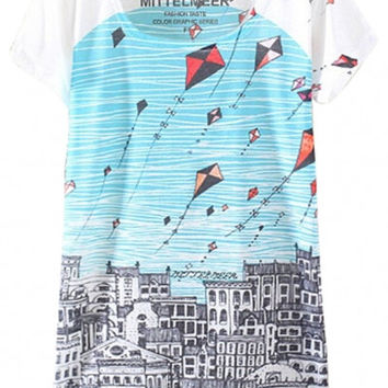 White Flying Kites in the City Print Graphic Tee