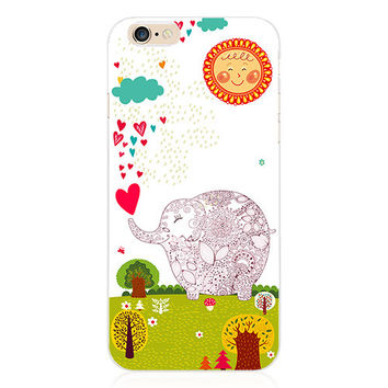 Luxury Transparent Girly Girls Elephant Hearts Collage Painting Elaborate Silicon Phone Case Cover Shell For Apple iPhone 5 5S SE