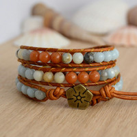 Earthy fall bracelet. Natural leather wrap bracelet. Orange and light blue jewelry