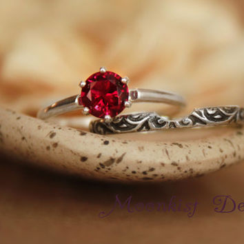 Vintage-Style Ruby Ring - Six-Prong Tiffany Solitaire in Sterling Silver with Smoke Swirl Notched Complimentary Band - July Birthstone