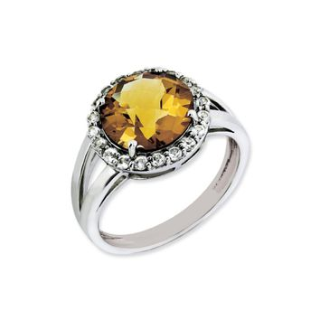 Whiskey Quartz And White Topaz Halo Ring in Sterling Silver