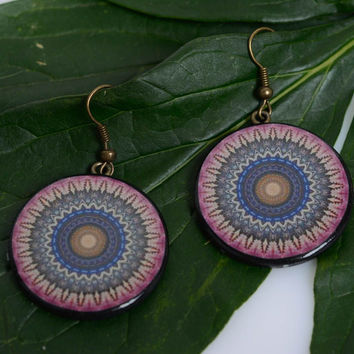 Polymer clay round earrings with Indian ornaments handmade summer accessory