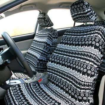 Car seat covers, Black & White Aztec \ African design, 4-piece set for FRONT adult car seats