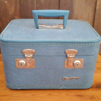 Vintage Blue Monarch Train Case Cosmetics Case Great Retro Luggage