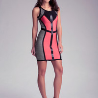 Zip Front Colorblock Dress