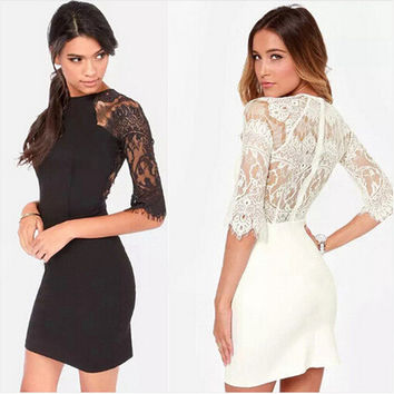 False Eyelashes Lace Patchwork Sexy Backless Zippers Half-sleeve One Piece Dress [6338968449]