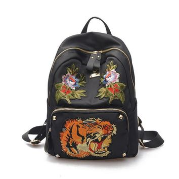 High quality waterproof woman 2017 tiger flower/floral embroidery fashion backpack ladies leisure daypack sack bag feminie bag
