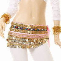 Pink Indian Dance Belly Costume Sequins Hip Waist Chain