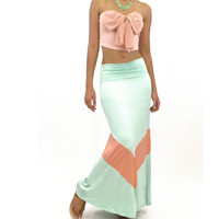 Carolina Sunset Mint Chevron Maxi Skirt