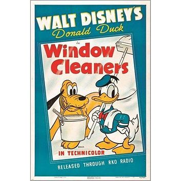 walt disney's WINDOW CLEANERS vintage movie poster DONALD DUCK goofy 24X36