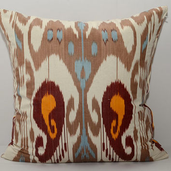 20x20, ikat, pillow cover, brown pillow, blue pillow, white pillow, ikat cushion, uzbek ikat, ikat pillow cover, ikats, cushion, sofa pillow