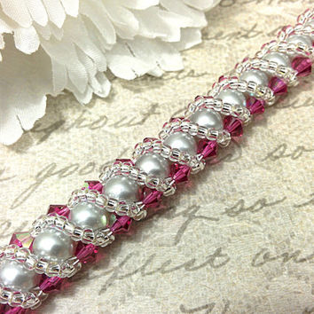 The Stella- Silver Swarovski Pearl with Pink Swarovski Crystals and Twisting Silver Seed Bead Overlay Bracelet