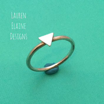 Triangle Sterling Silver Wire Stacking Ring- Layered Rings, Simple Silver Ring, Silver Stacking Ring