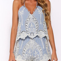 Blue Embroidery Crochet Detail Strappy Back Romper Playsuit