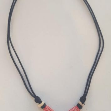 Shark Tooth Necklace with Red X Bone Beads
