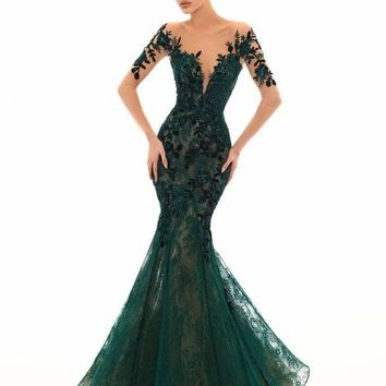 Tarik Ediz - 93669 Floral Sequined Lace Mermaid Dress With Train