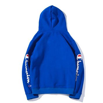 Champion autumn and winter models men and women loose arm printed letter hooded long-sleeved sweater blue