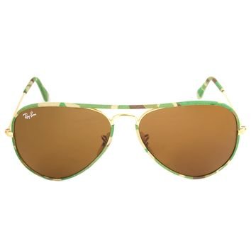 Ray-Ban RB3025JM 169 Sunglasses | Gold/Green Camo Frame | Brown Lens | 58mm
