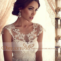2014 New Fashion Wedding Dresses Sexy Tops Lace Shoulder Round Neck Hot Deep V- Back Tulle Wedding Dress Wedding Gown Summer Wedding Bridal