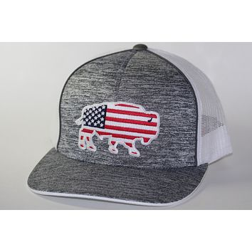 "Red Dirt Hat Co ""USA Buffalo"" Heather Grey / White Snap Back Trucker Hat"