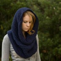 Oversized Hooded Cowl, Infinity Scarf, Navy Blue, Christmas in July, CIJ Sale