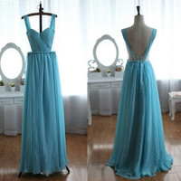 Cheap Blue Backless Chiffon Prom Dress, Simple Bridesmaid Dress, Long Evening Dress, Formal Dresses
