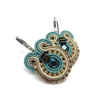 Teal Earrings Bridal Drop earrings Teal Bridesmaid Real and Brown Earrings Jewelry Soutache Earrings Teal Wedding Jewelry Bridesmaid Earings