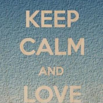 'Keep Calm and Love Life' Grainy Texture Style Background - Plywood Wood Print Poster Wall Art