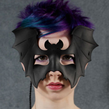 Batty Mask in Black Leather by TomBanwell on Etsy