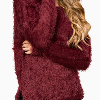Burgundy V Back Slit Side Sweater