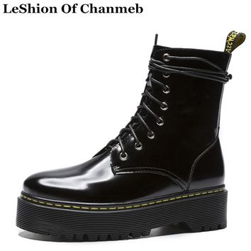 2019 patent leather martin boots waterproof platforms motorcycle boots for woman black wine red dr. marten boots lace up shoes