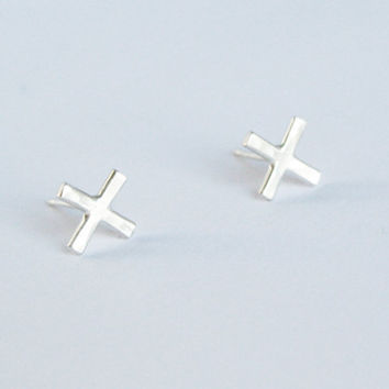 Silver X Studs, Small Silver Earrings, X Shaped Earrings, Sterling Silver Posts, Simple Silver Earrings