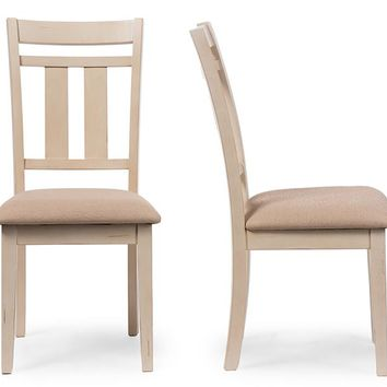 Baxton Studio Roseberry Chic French Country Cottage Antique Oak Wood and Distressed White Dining Side Chair Set of 2