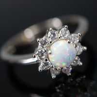 Opal Ring - Synthetic White Fire Opal Full Sterling Silver CZ Ring - Princess Di