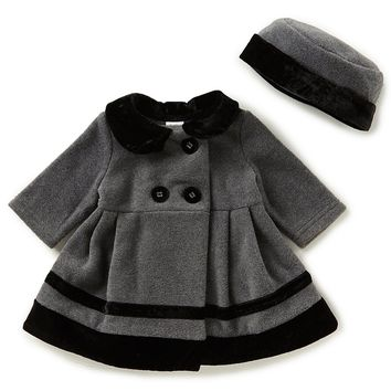 Starting Out Baby Girls 3-24 Months Velvet Trim Coat & Matching Hat Set | Dillards