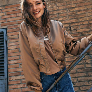 Satin bomber jacket with oversized sleeves - Bomber jacket - Bershka Germany