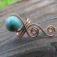 Turquoise Copper Wire Simple Spiral Ear Cuff- Blue Beaded Wire Wrapped Earring- Handmade Healing Gemstone Goddess Wedding Jewelry